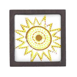 Sun amarillo en recorte del Grunge de las luces Cajas De Joyas De Calidad