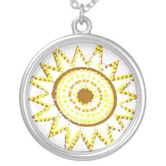 Sun amarillo en recorte del Grunge de las luces Colgante Redondo