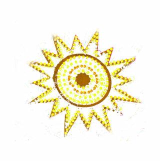 Sun amarillo en recorte del Grunge de las luces Fotoescultura Vertical
