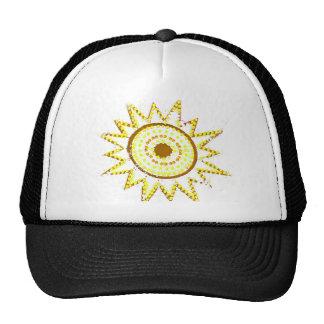 Sun amarillo en recorte del Grunge de las luces Gorros