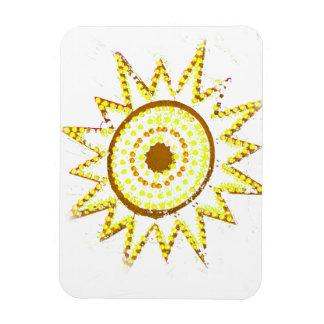 Sun amarillo en recorte del Grunge de las luces Imán