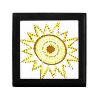 Sun amarillo en recorte del Grunge de las luces Joyero Cuadrado Pequeño
