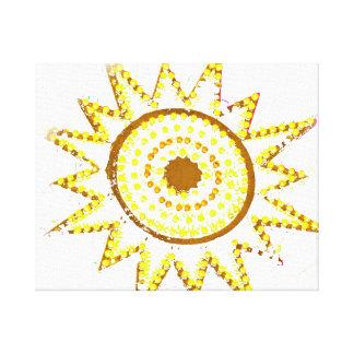 Sun amarillo en recorte del Grunge de las luces Impresión En Tela