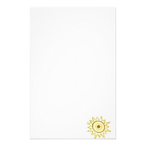 Sun amarillo en recorte del Grunge de las luces Papelería De Diseño