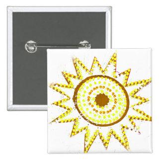 Sun amarillo en recorte del Grunge de las luces Pin Cuadrada 5 Cm