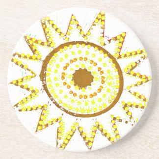 Sun amarillo en recorte del Grunge de las luces Posavasos Cerveza
