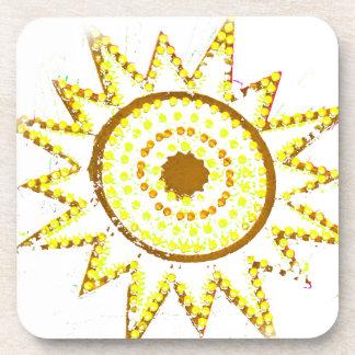 Sun amarillo en recorte del Grunge de las luces Posavasos De Bebidas