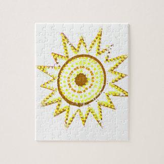 Sun amarillo en recorte del Grunge de las luces Puzzle Con Fotos