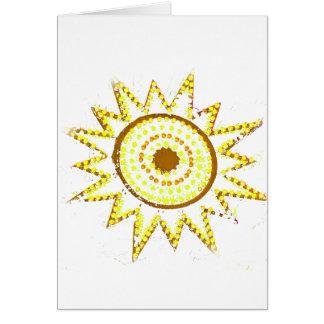 Sun amarillo en recorte del Grunge de las luces Tarjeta De Felicitación