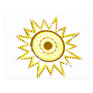 Sun amarillo en recorte del Grunge de las luces Postales