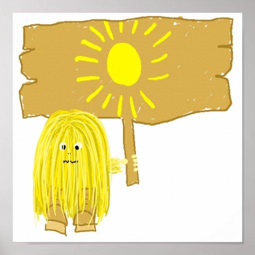Sun amarillo póster