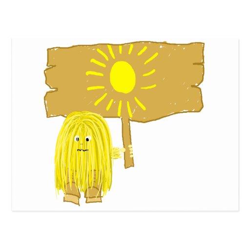 Sun amarillo tarjeta postal