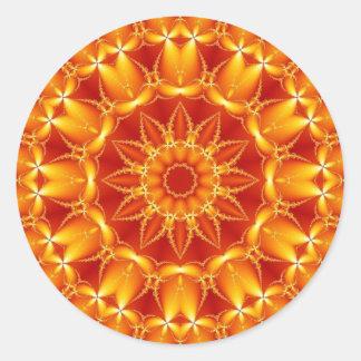 Sun anaranjado pegatina redonda