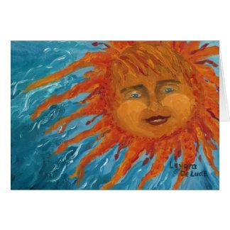 Sun anaranjado positivo, sonriente de la pintura d tarjeta de felicitación