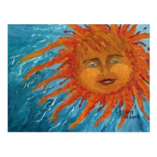 Sun anaranjado positivo, sonriente de la pintura postales