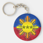 Sun and 3 Stars Basic Round Button Keychain