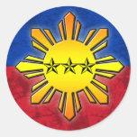 Sun and 3 Stars Round Stickers