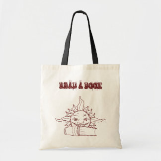 Sun and a book tote bags