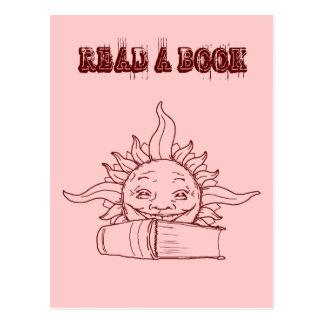 Sun and a book postcard