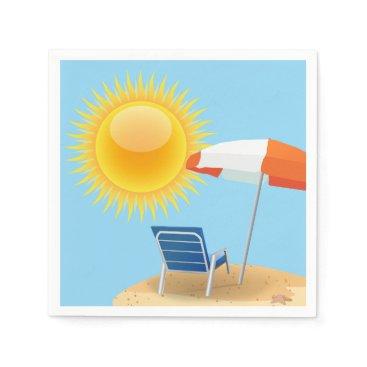 Beach Themed Sun and Beach Umbrella Paper Napkin