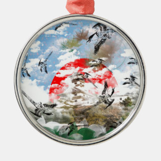 Sun and bird and Imabari castle Metal Ornament
