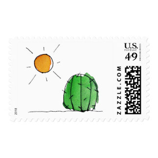 Sun and Cactus Watercolor Stamp