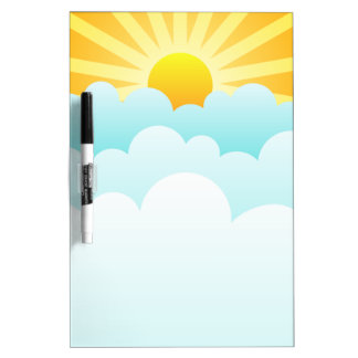 sun and clouds dry erase board