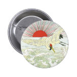 Sun And Crane Bird Vintage Japanese Silk Label Pinback Buttons