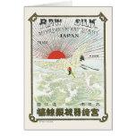 Sun And Crane Bird Vintage Japanese Silk Label Greeting Cards