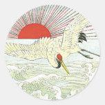 Sun And Crane Bird Vintage Japanese Silk Label Stickers