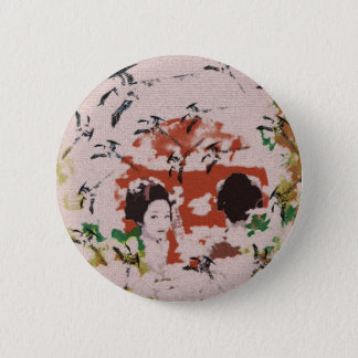 Sun and dance 妓 with bird 2 pinback button