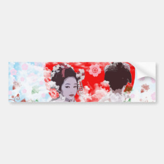 Sun and dance 妓 with cherry tree bumper sticker
