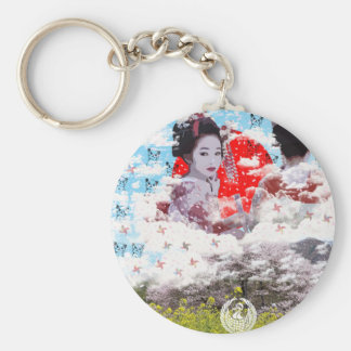 Sun and dance 妓 with mountain of spring basic round button keychain