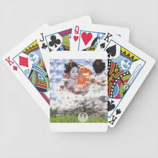 Sun and dance 妓 with mountain of spring bicycle playing cards