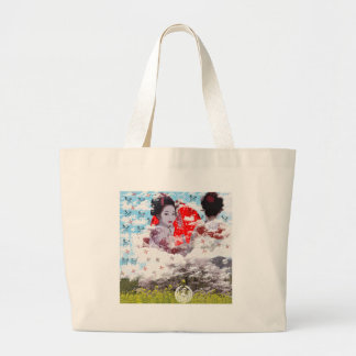 Sun and dance 妓 with mountain of spring large tote bag