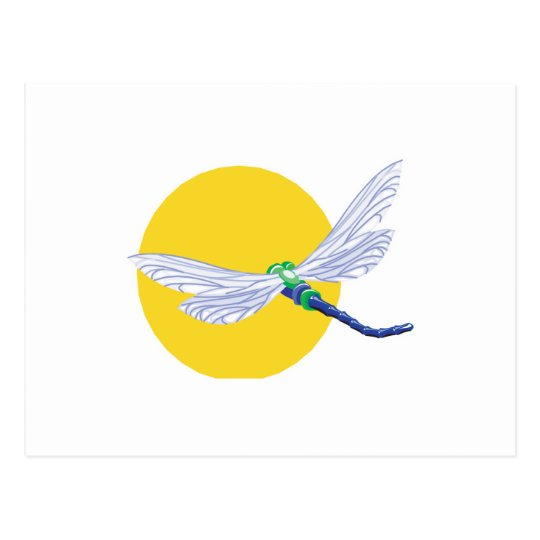 sun and dragonfly design postcard