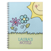 Sun and Flowers, Add your name Notebook