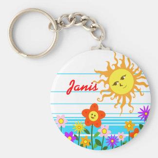 Sun and flowers keychain