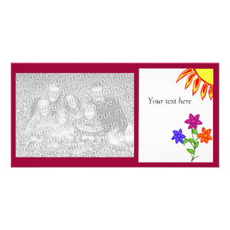 Sun and flowers photo card with text