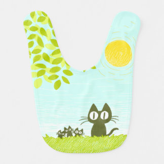Sun and Leaves and Black Cat Bib