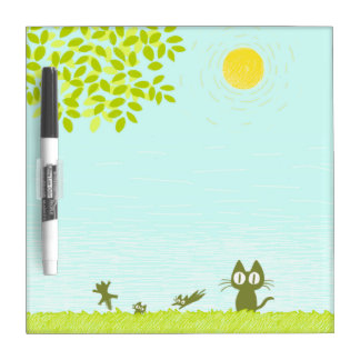 Sun and Leaves and Black Cat Dry Erase Board