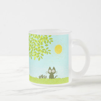 Sun and Leaves and Black Cat Frosted Glass Coffee Mug