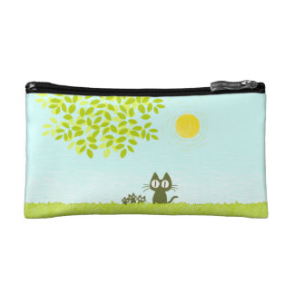 Sun and Leaves and Black Cat Makeup Bag