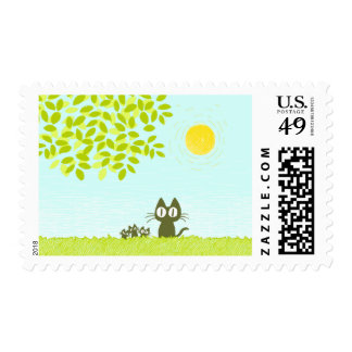 Sun and Leaves and Black Cat Postage