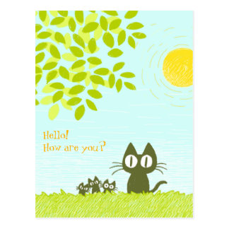 Sun and Leaves and Black Cat Postcard