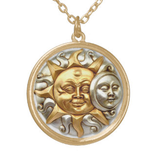 SUN AND MOON ABSTRACT DESIGN GOLD PLATED NECKLACE