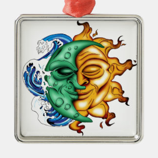 SUN AND MOON ABSTRACT FUSION METAL ORNAMENT