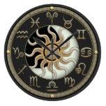 Sun And Moon Astrology Symbols Large Clock