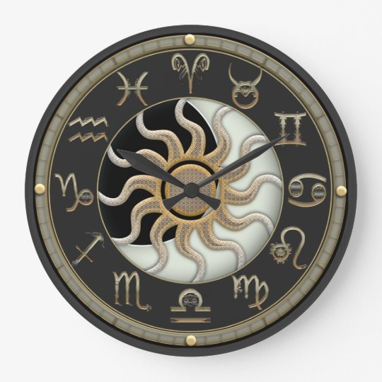 Sun And Moon Astrology Symbols Large Clock Zazzlecom