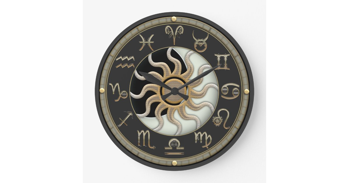Sun And Moon Astrology Symbols Large Clock Zazzle Com